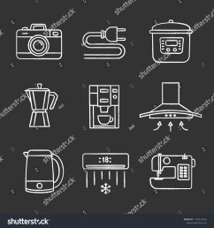 household appliance chalk icons set photo camera wire plug multi cooker coffee maker range hood kettle coffee machine air conditioner  [ 1500 x 1600 Pixel ]