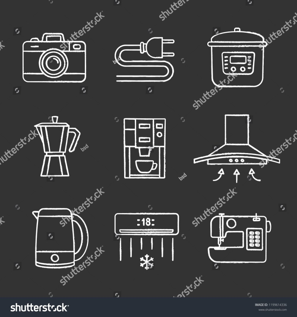 medium resolution of household appliance chalk icons set photo camera wire plug multi cooker coffee maker range hood kettle coffee machine air conditioner
