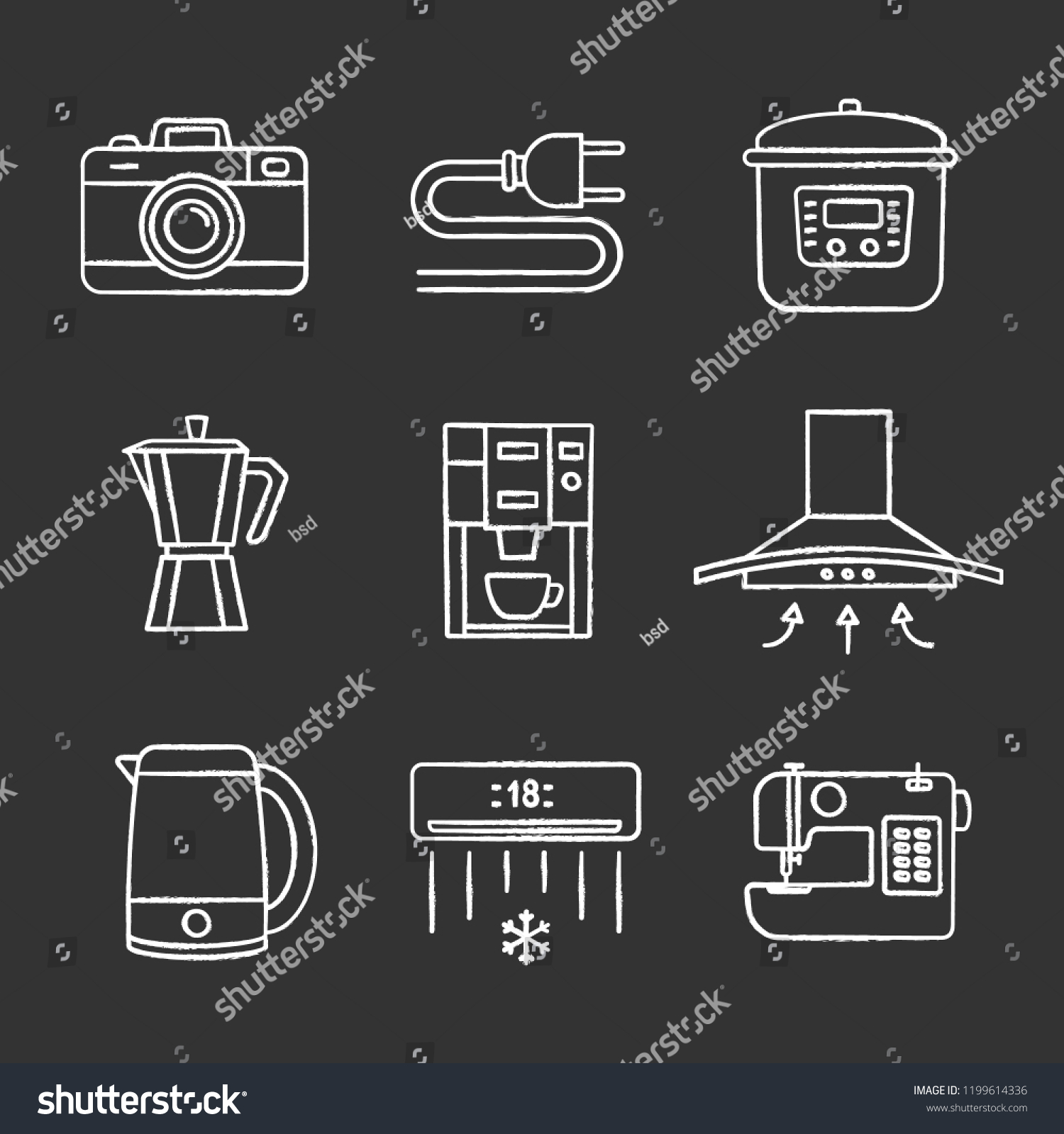 hight resolution of household appliance chalk icons set photo camera wire plug multi cooker coffee maker range hood kettle coffee machine air conditioner