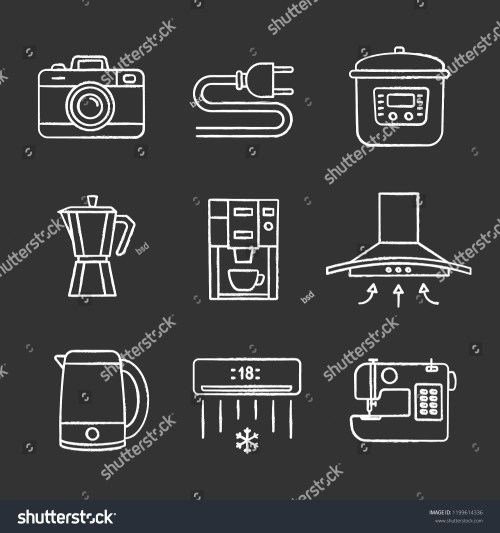 small resolution of household appliance chalk icons set photo camera wire plug multi cooker coffee maker range hood kettle coffee machine air conditioner