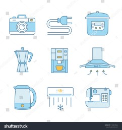 household appliance color icons set photo camera wire plug multi cooker coffee [ 1500 x 1600 Pixel ]
