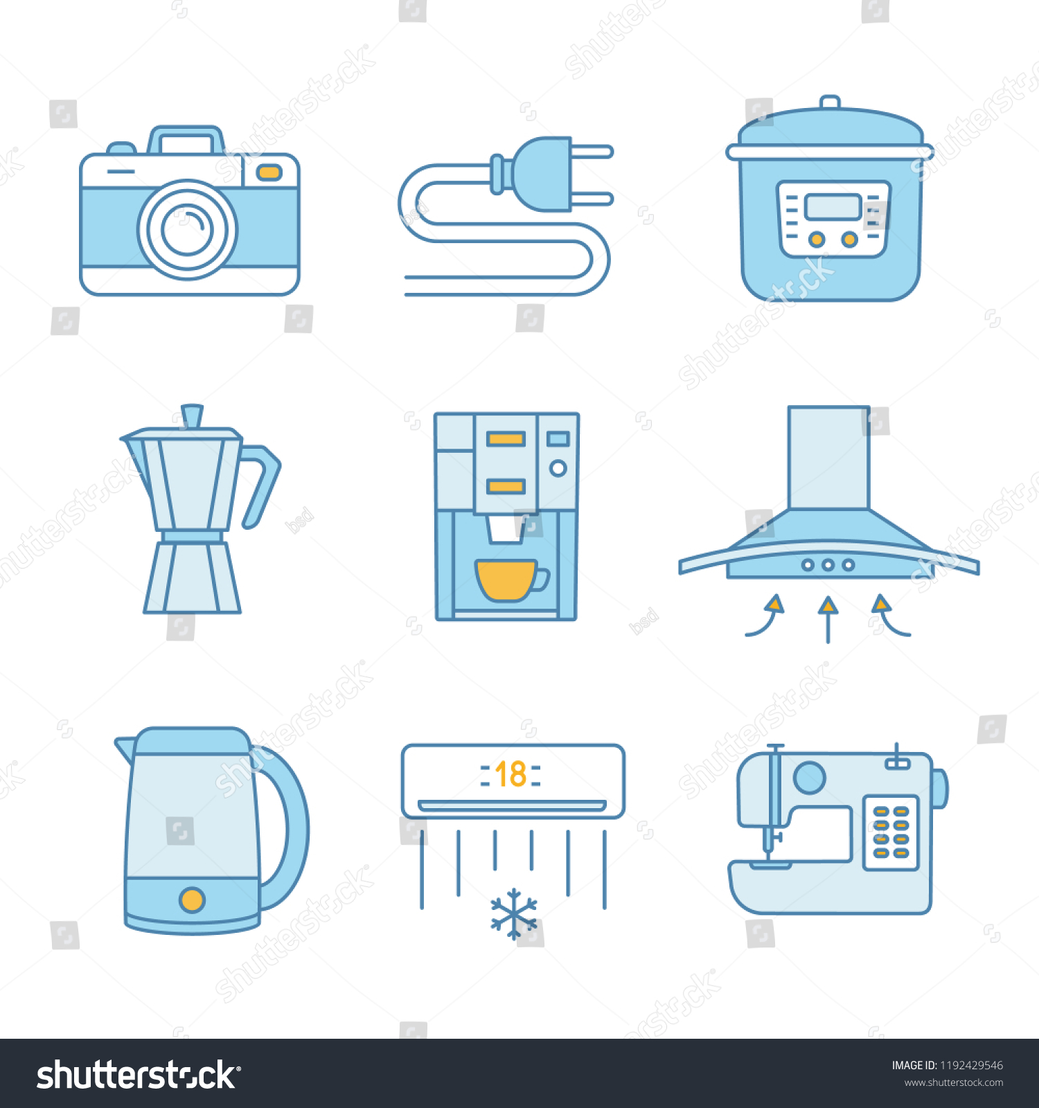 hight resolution of household appliance color icons set photo camera wire plug multi cooker coffee