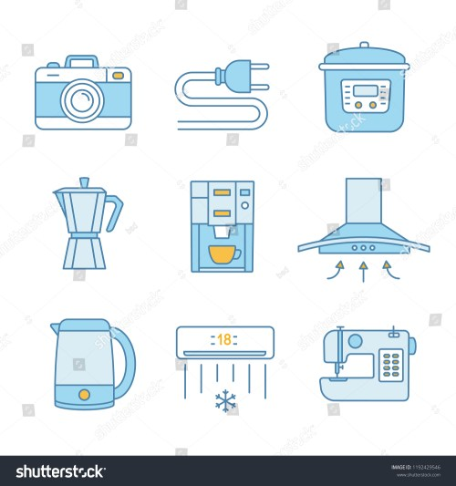 small resolution of household appliance color icons set photo camera wire plug multi cooker coffee