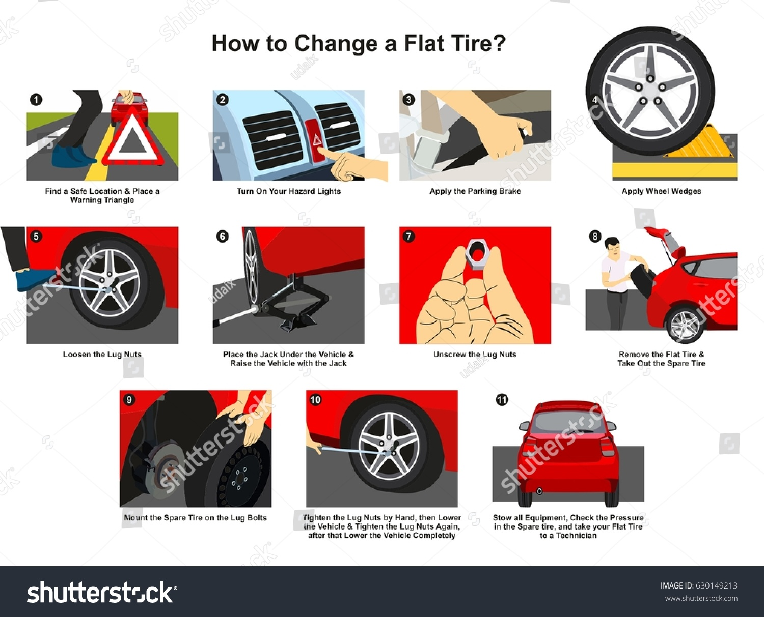 hight resolution of how to change a flat tire infographic diagram with detailed conceptual drawing images step by step