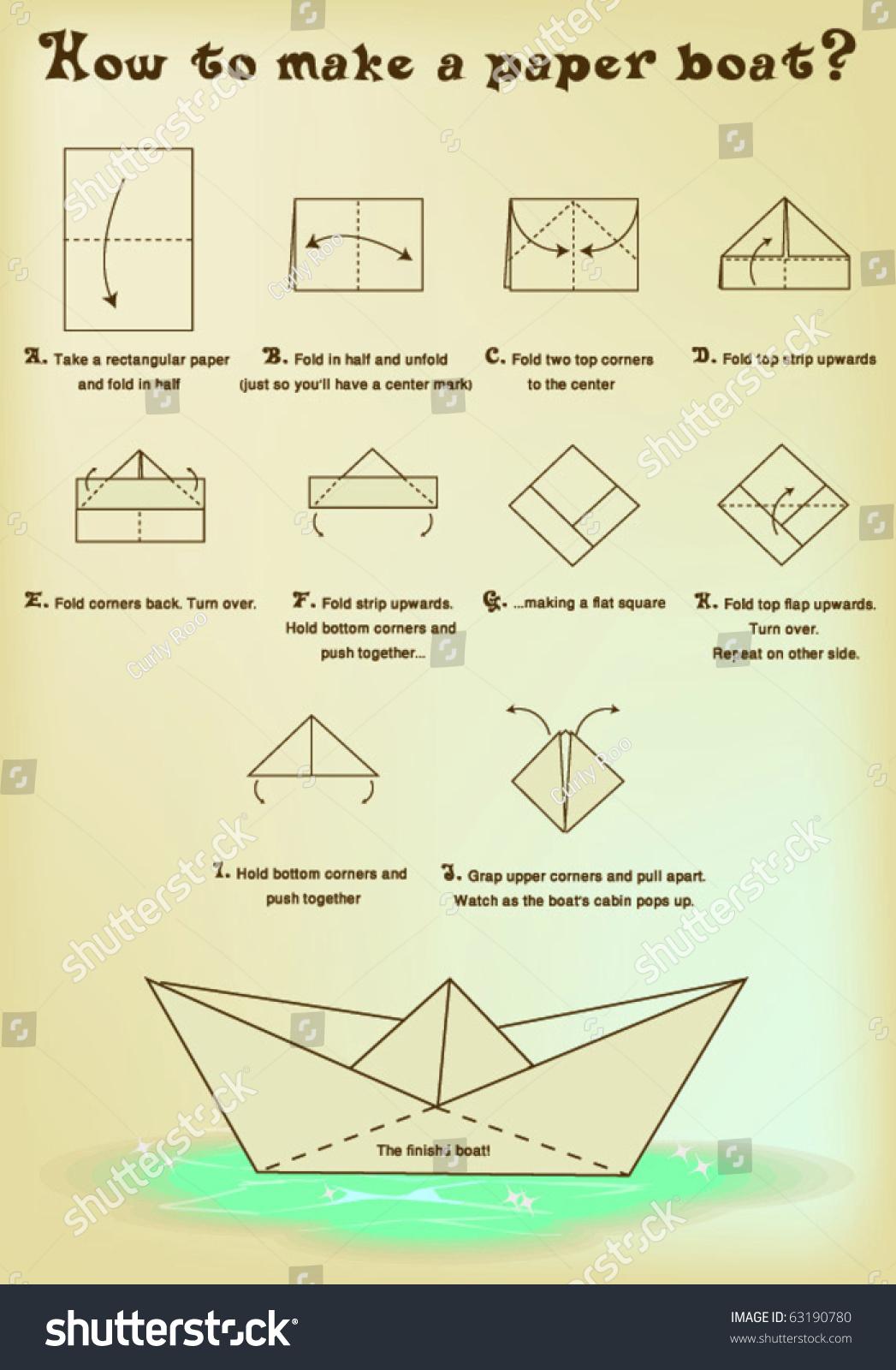 How Make Paper Boat Stock Vector 63190780  Shutterstock