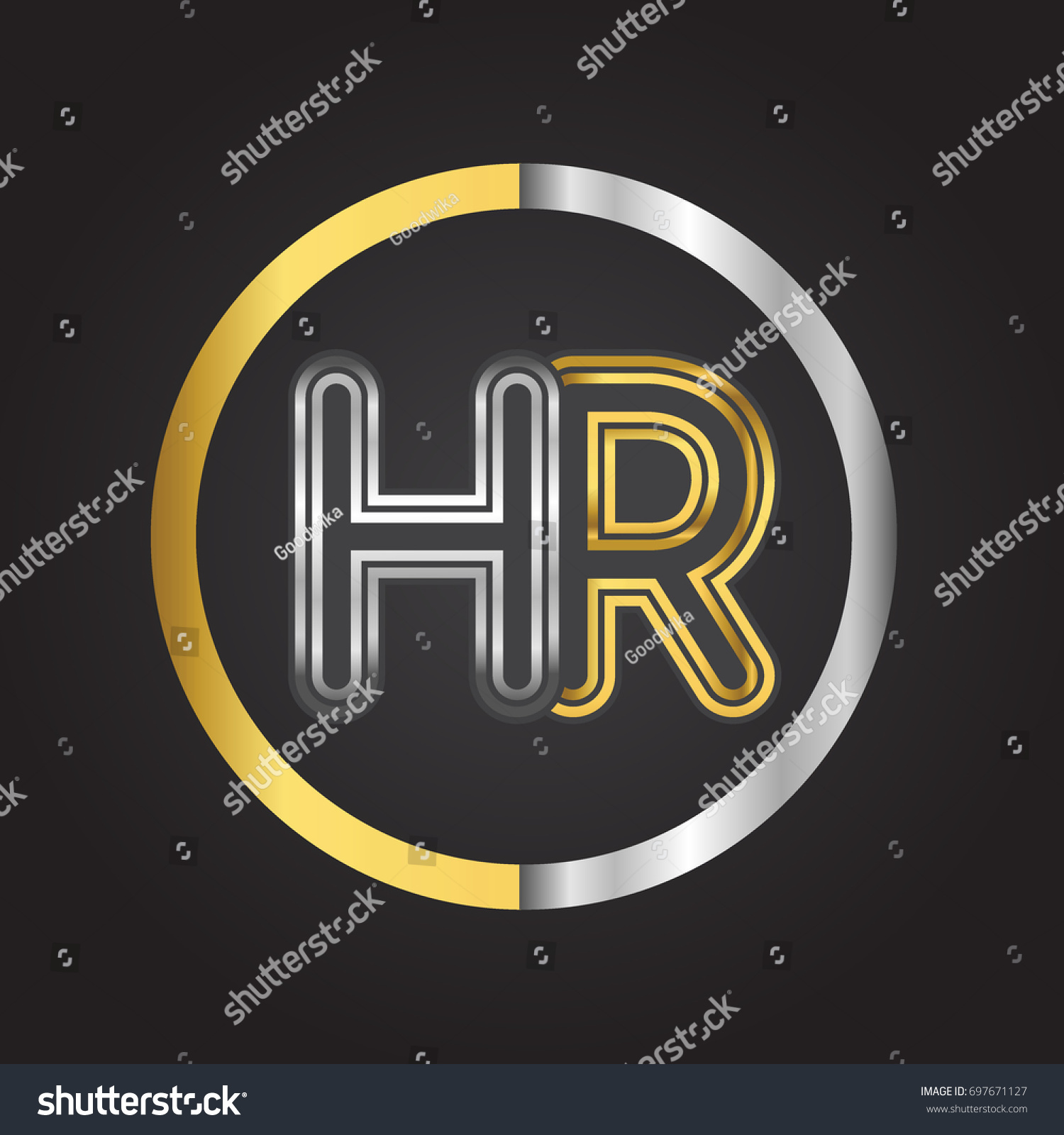 Hr Letter Logo In A Circle. Gold And Silver Colored. Vector Design Template  Elements