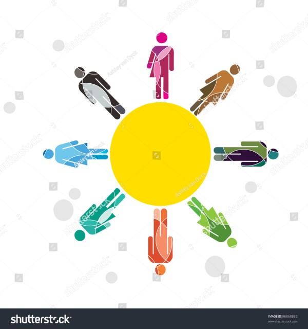 Human Diversity Sun Design Stock Vector Illustration