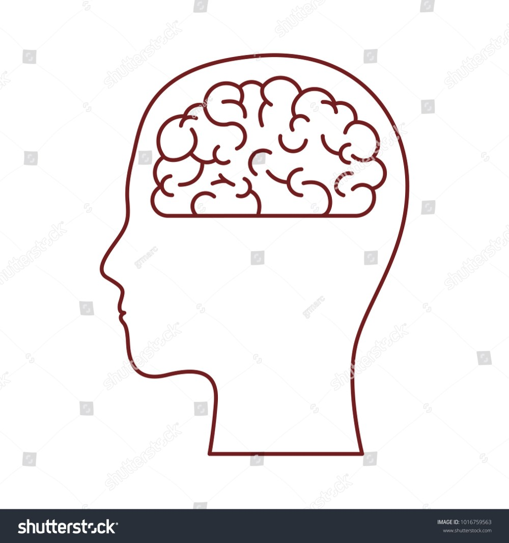 medium resolution of human face brown silhouette with brain inside in dark red contour