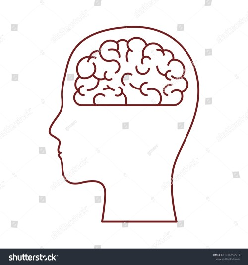 small resolution of human face brown silhouette with brain inside in dark red contour
