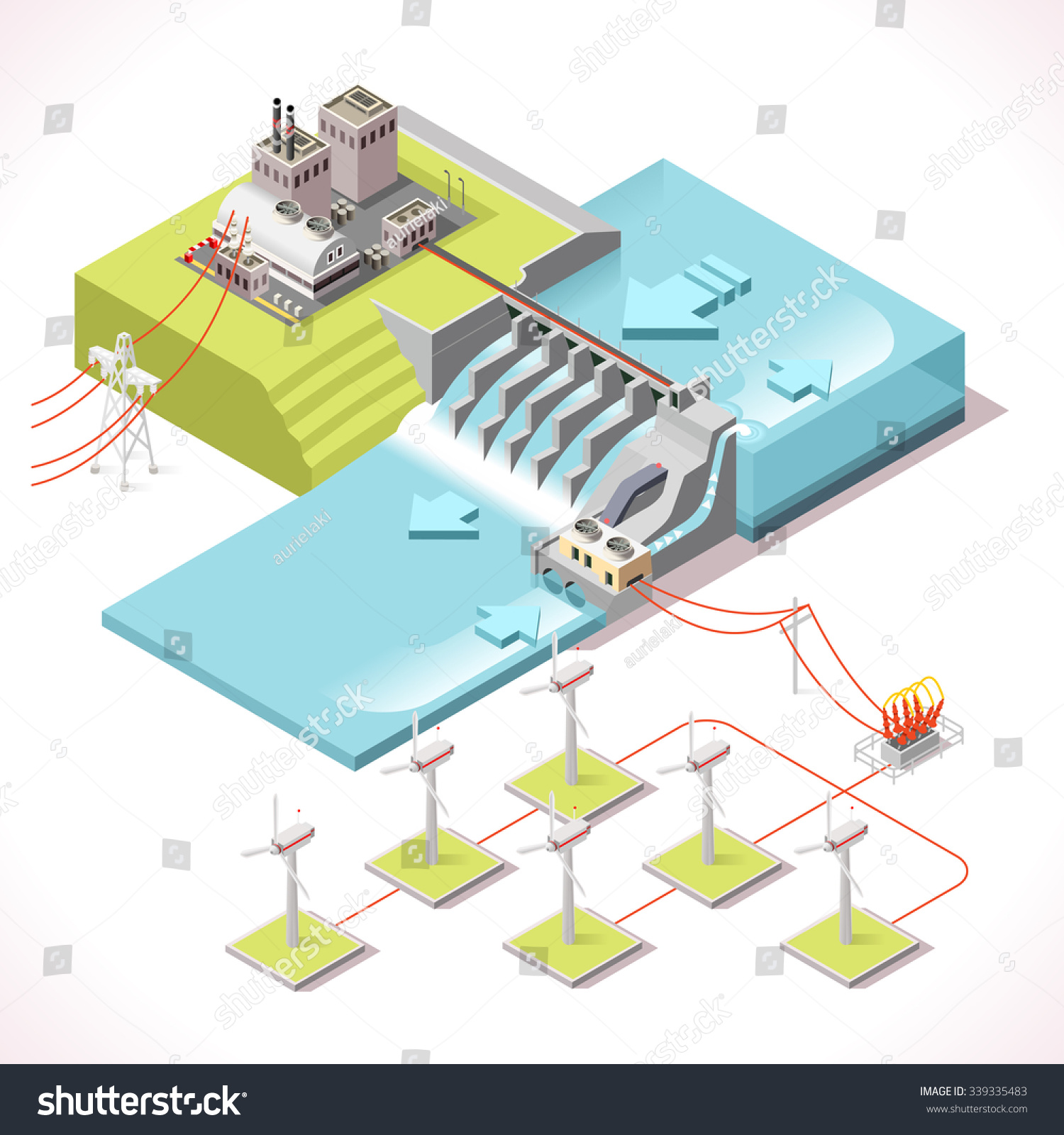 Hybrid Power Systems Hydroelectric Plant And Windmill Factory Isometric Electric Power Station