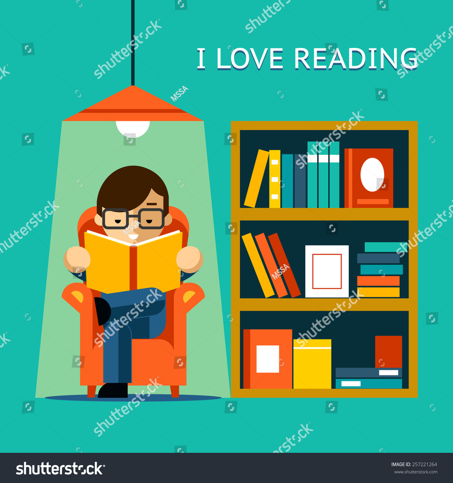 Love Reading Man Sits Chair Read Stock Vector