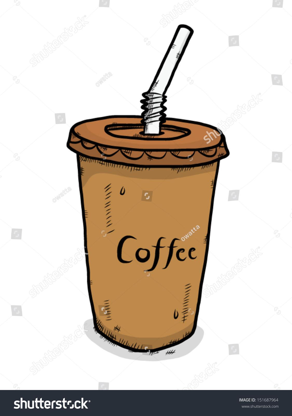 Cute Coffee Mug Wallpaper Ice Coffee Plastic Cup Cartoon Vector Stock Vector