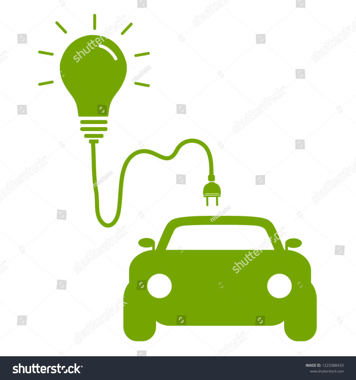 hight resolution of icon electric car and light bulb symbol hybrid car concept car or electric vehicle eco friendly vector image