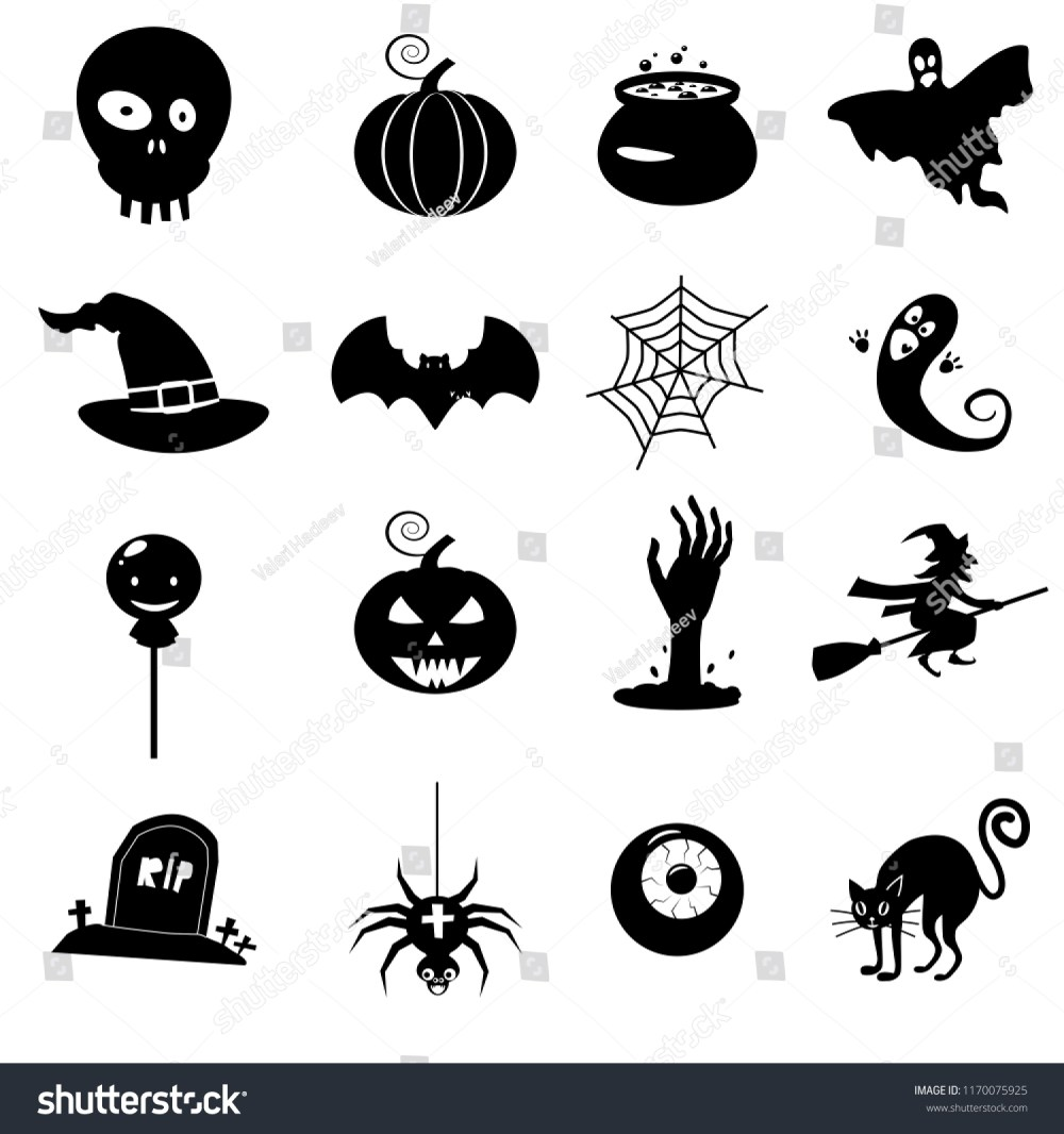 medium resolution of icon set helloween witch hat vector grim reaper scary face pumpkin