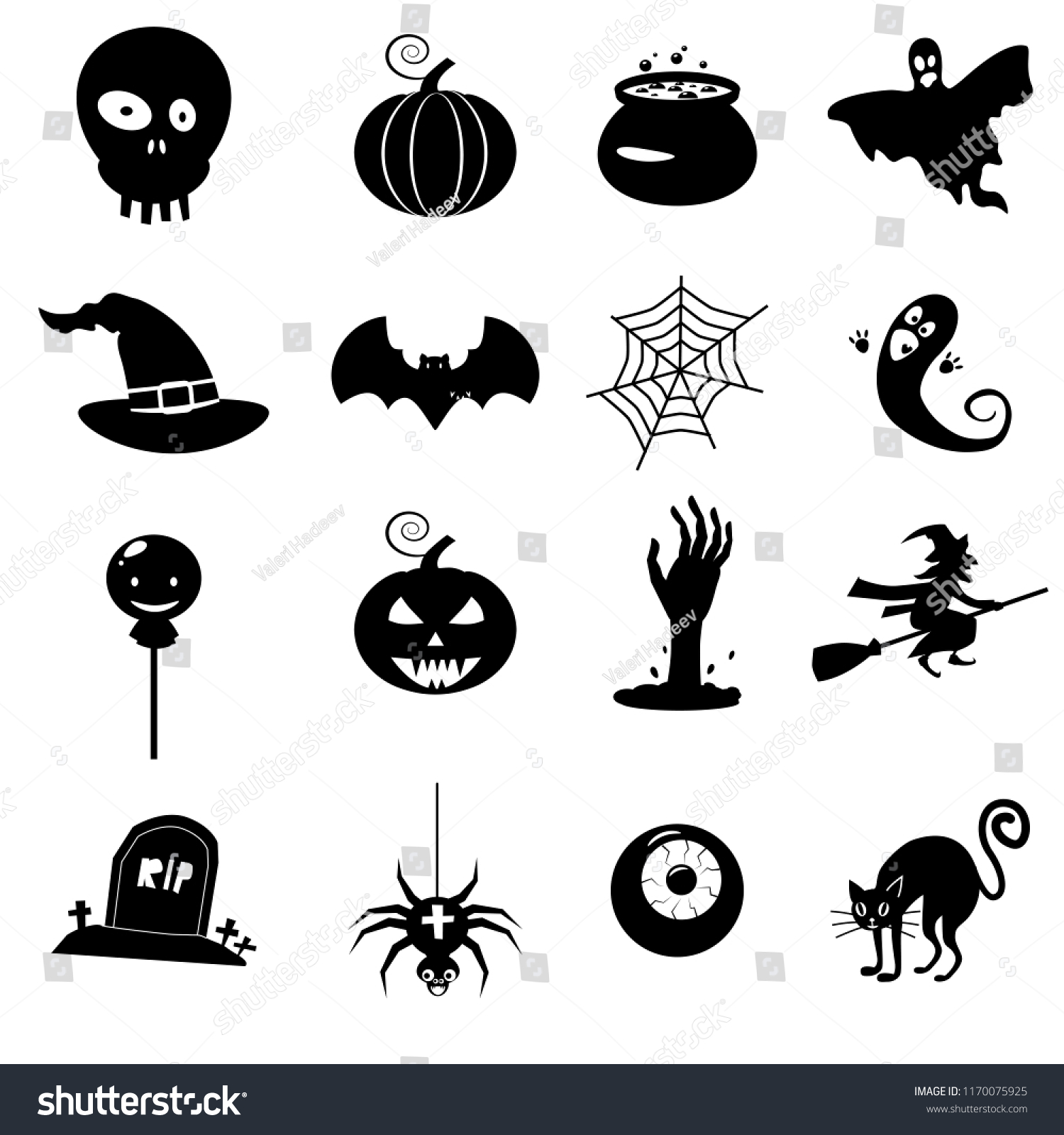 hight resolution of icon set helloween witch hat vector grim reaper scary face pumpkin