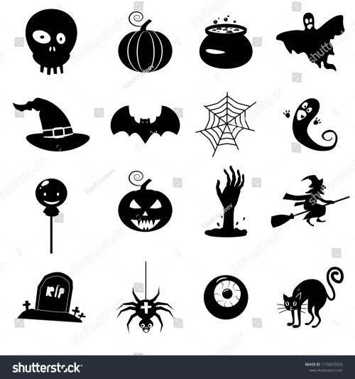 small resolution of icon set helloween witch hat vector grim reaper scary face pumpkin