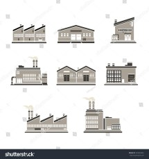 Icon Set Distribution Warehouse Factories Factory Stock