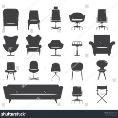 Office Chair Vector Lift Recliners Medicare Icon Set Silhouette Modern Furniture Stock