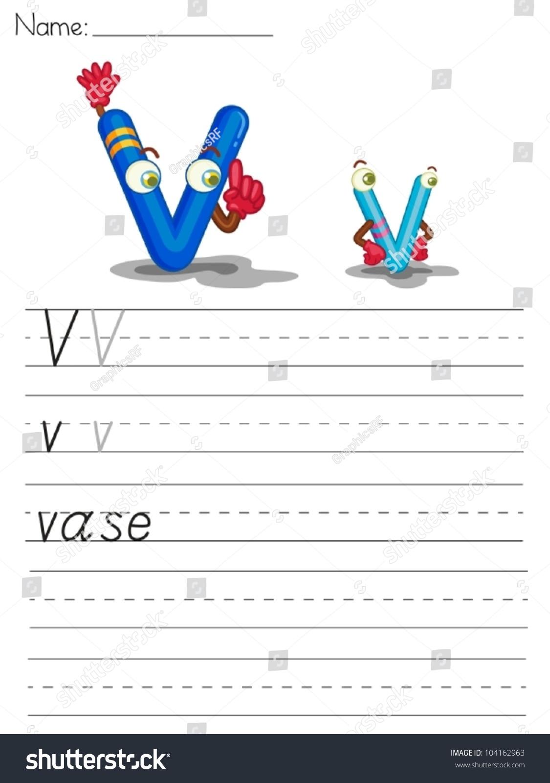 Illustrated Alphabet Worksheet Of The Letter V Stock