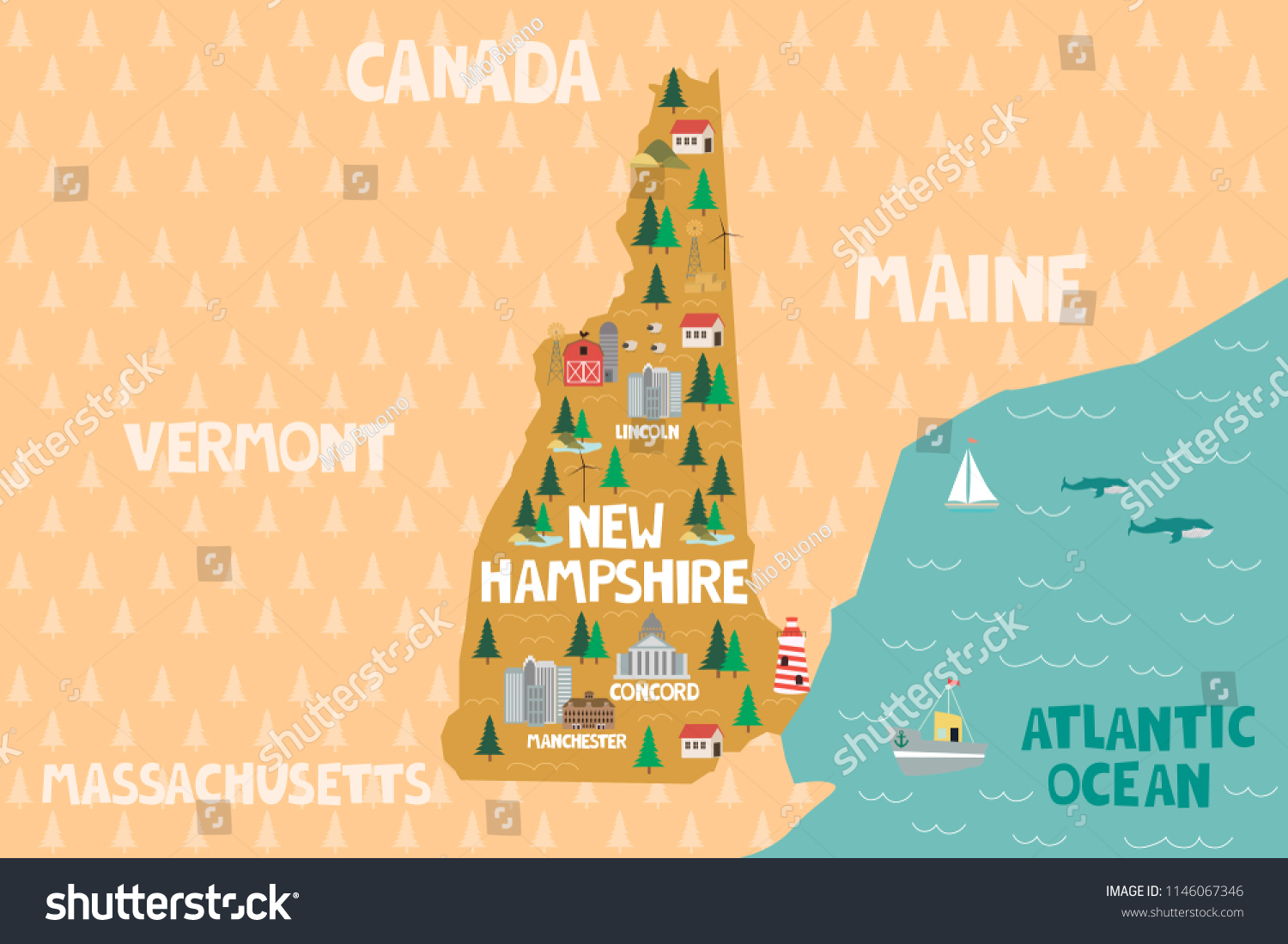 The granite state (its nickname) has a short coastline (24 … Illustrated Map State New Hampshire United Stock Vector Royalty Free 1146067346