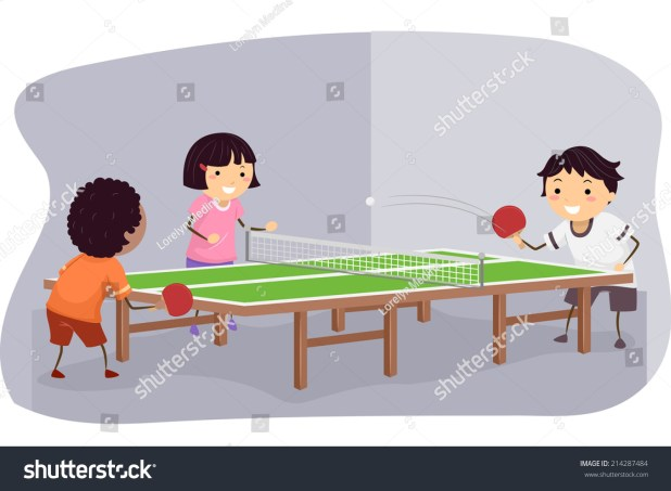 Ilration Featuring Kids Playing Table Tennis