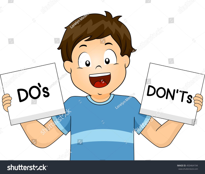 Illustration Boy Showing Flashcards School Rules Stock