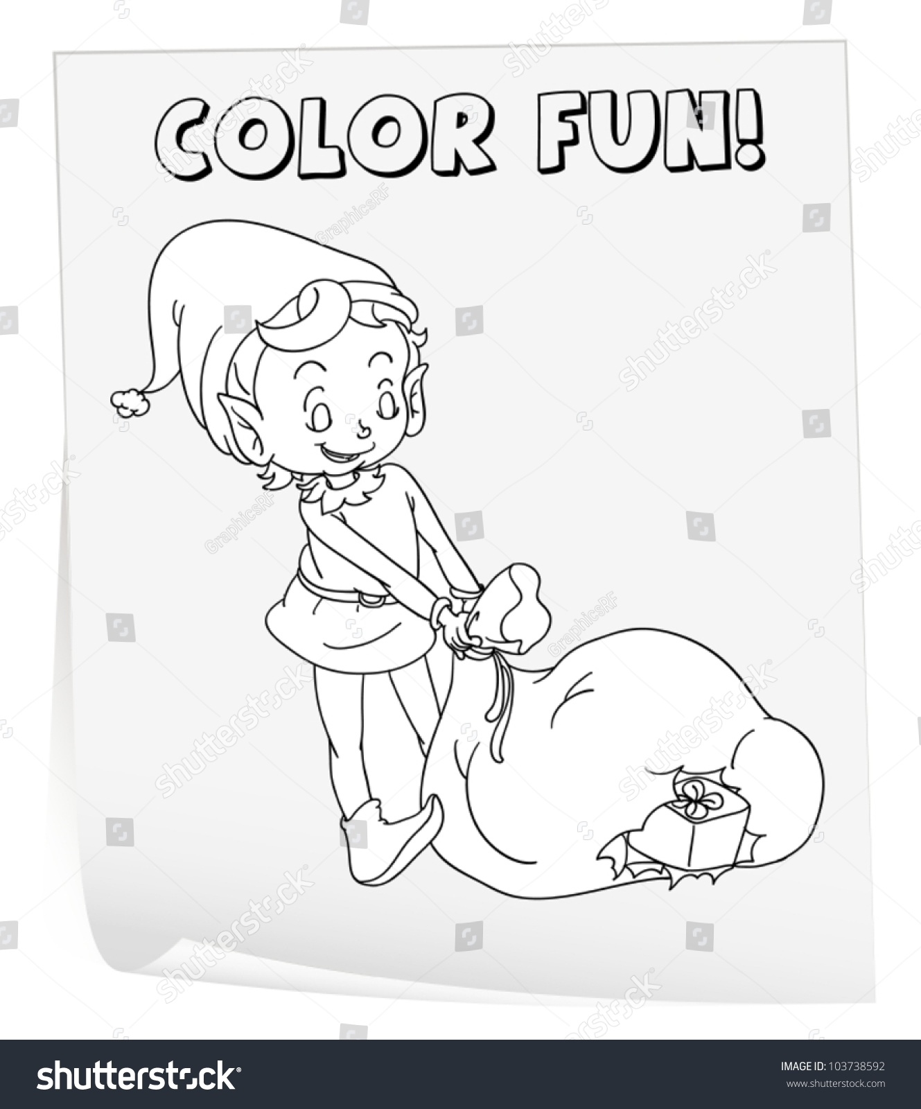 Illustration Of A Colouring Worksheet Elf