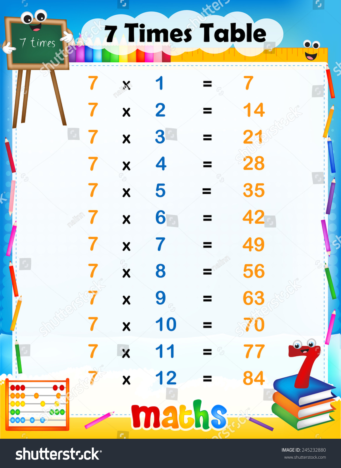 Annswer 7 Times Tables Worksheet