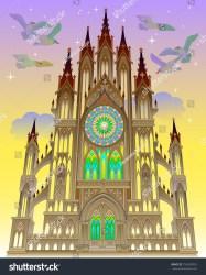 Illustration Fairyland Fantasy Gothic Castle Vector Stock Vector Royalty Free 756503992