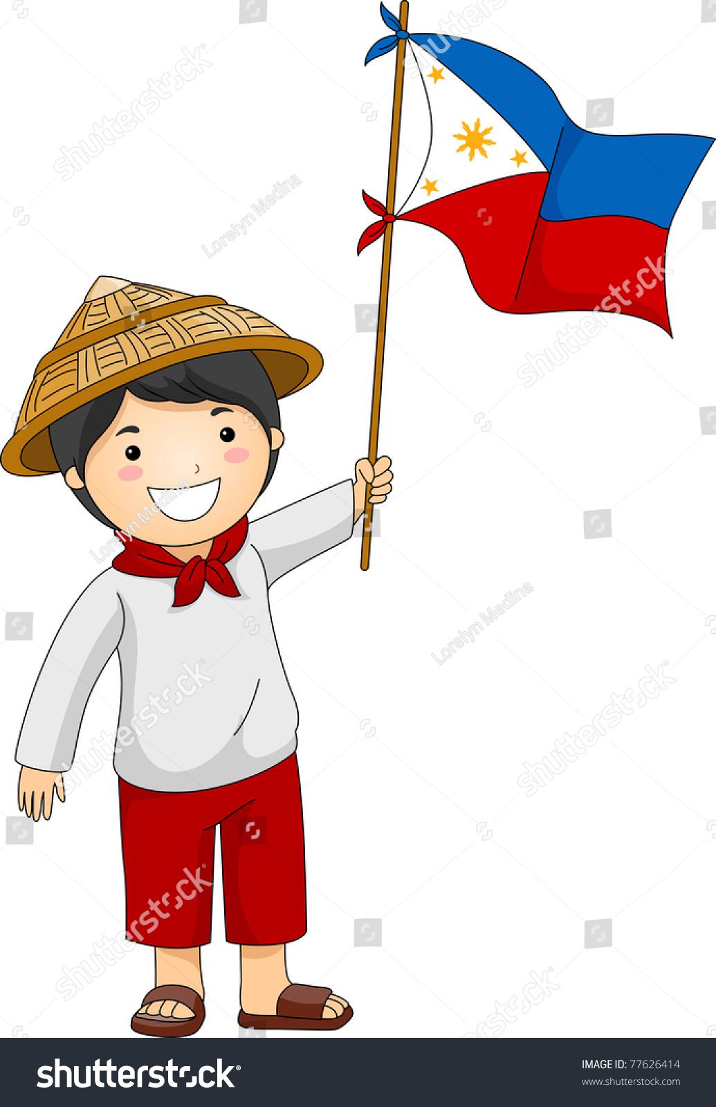 Illustration Filipino Kid Holding Philippine Flag Stock