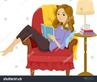 Illustration Girl Reading Book While Reclining Stock ...
