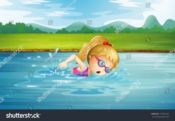 Illustration Of Girl Swimming River - 137392142