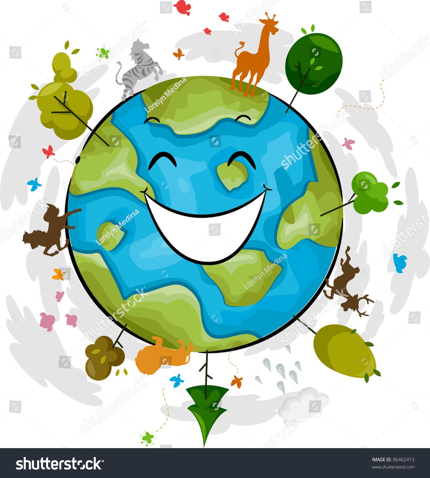 Illustration Happy Earth Mascot Stock Vector