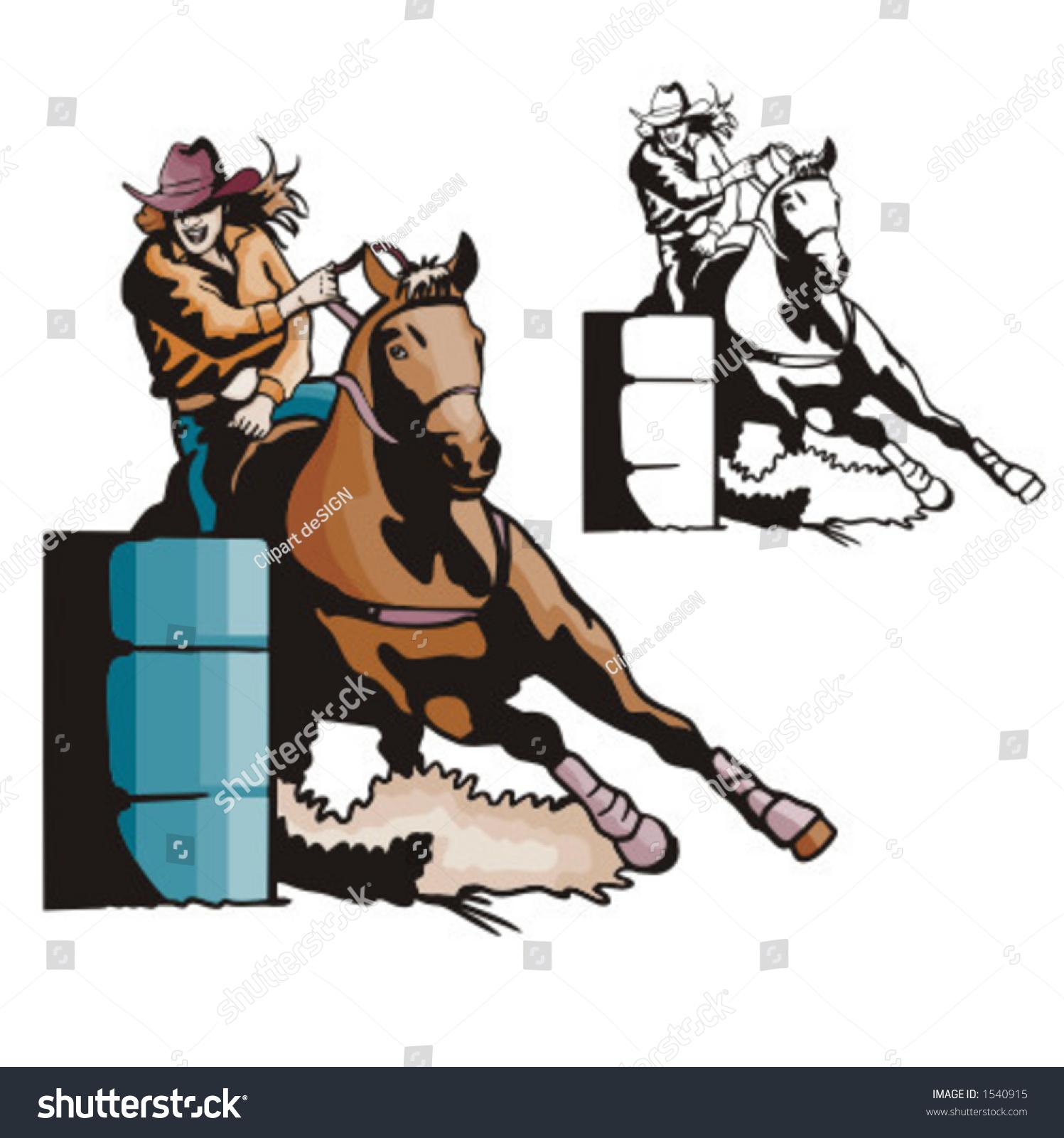 hight resolution of illustration of a ladies barrel racing