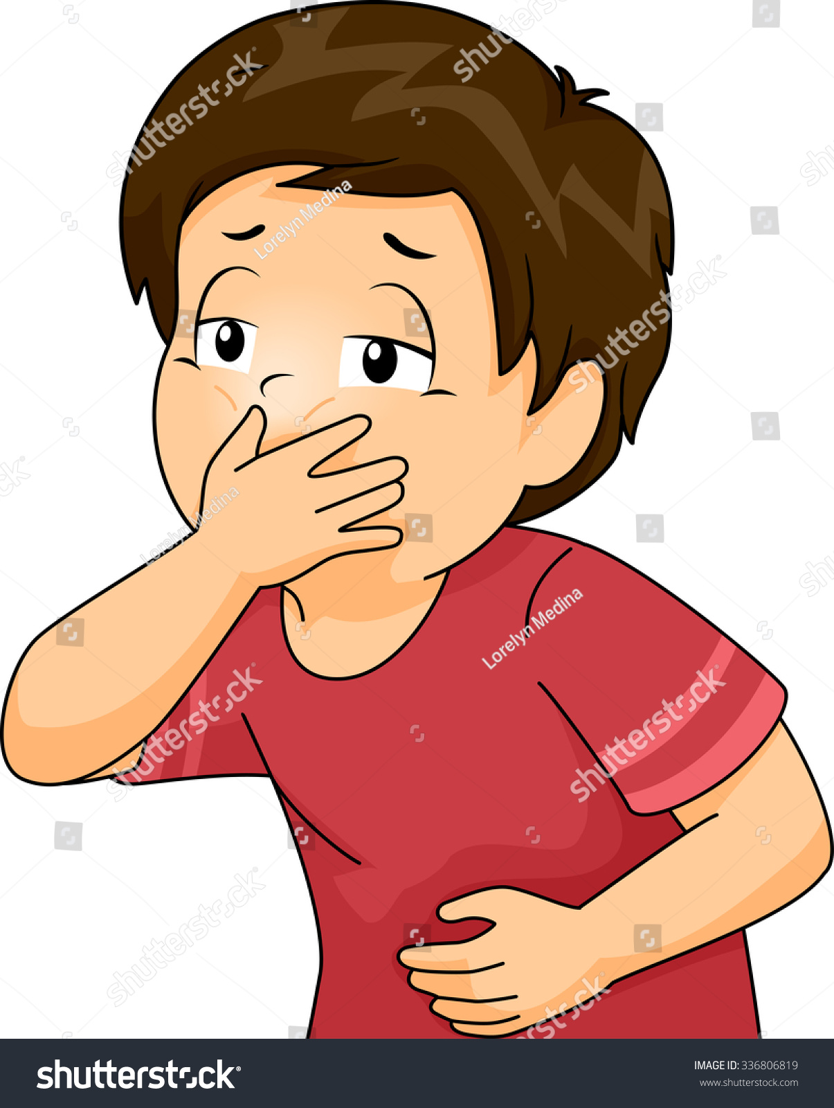 Illustration Of A Little Boy About To Throw Up Covering His Mouth - 336806819 : Shutterstock