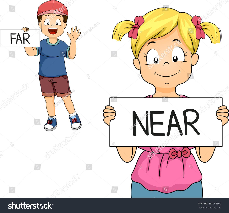 Illustration Little Boy Girl Demonstrating What Stock Vector