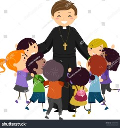 illustration of a priest hugging a group of stickman kids [ 1500 x 1534 Pixel ]