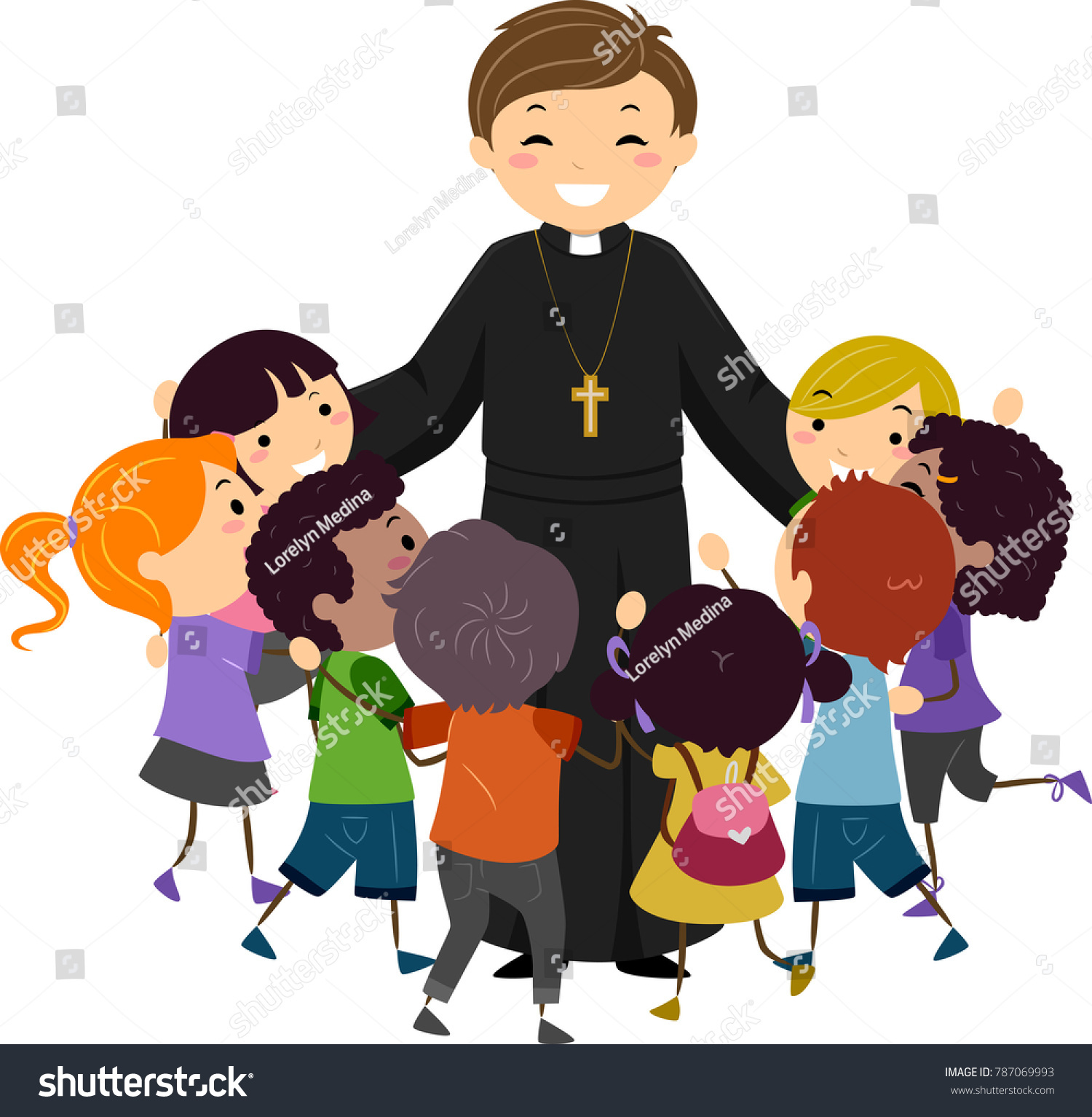 hight resolution of illustration of a priest hugging a group of stickman kids