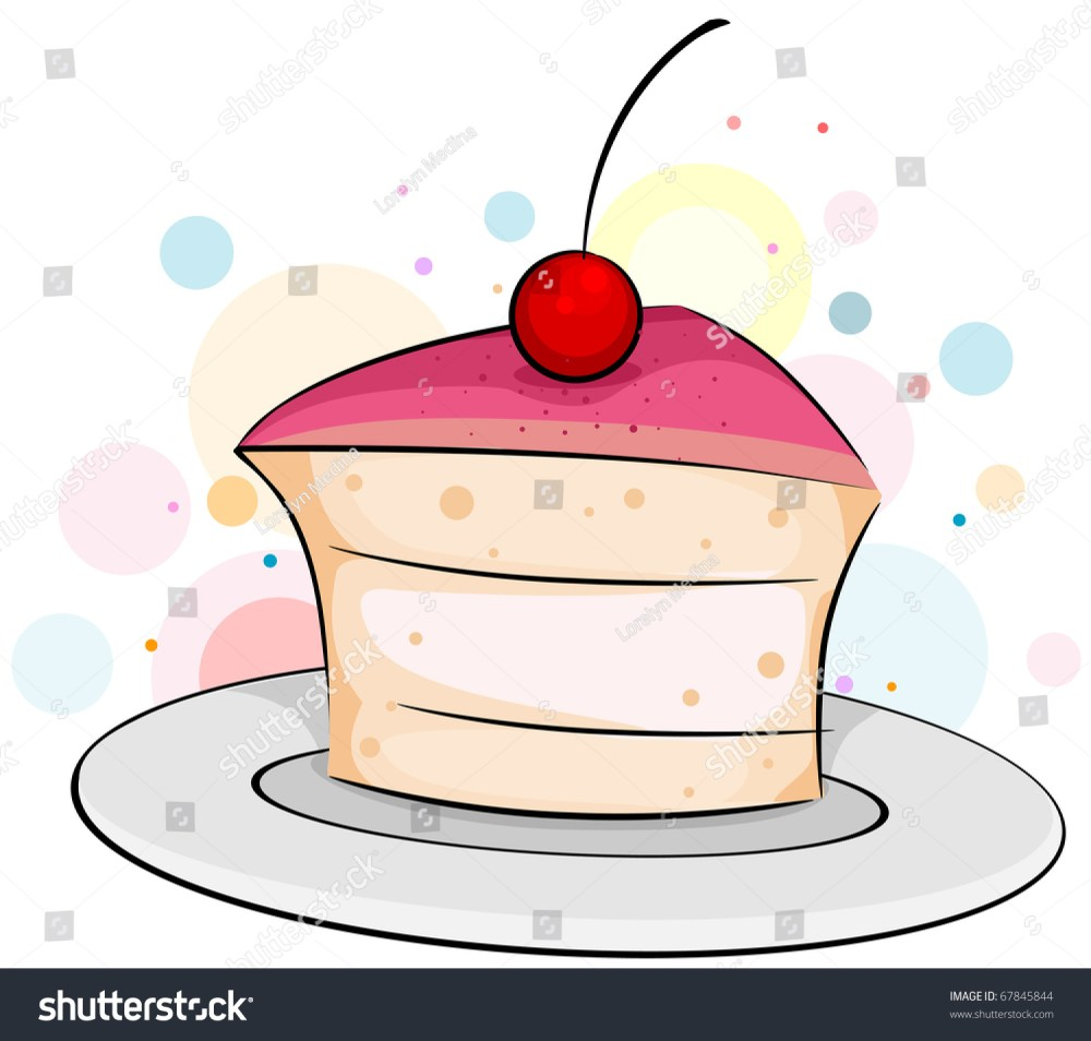 medium resolution of illustration of a slice of cake with a cherry on top