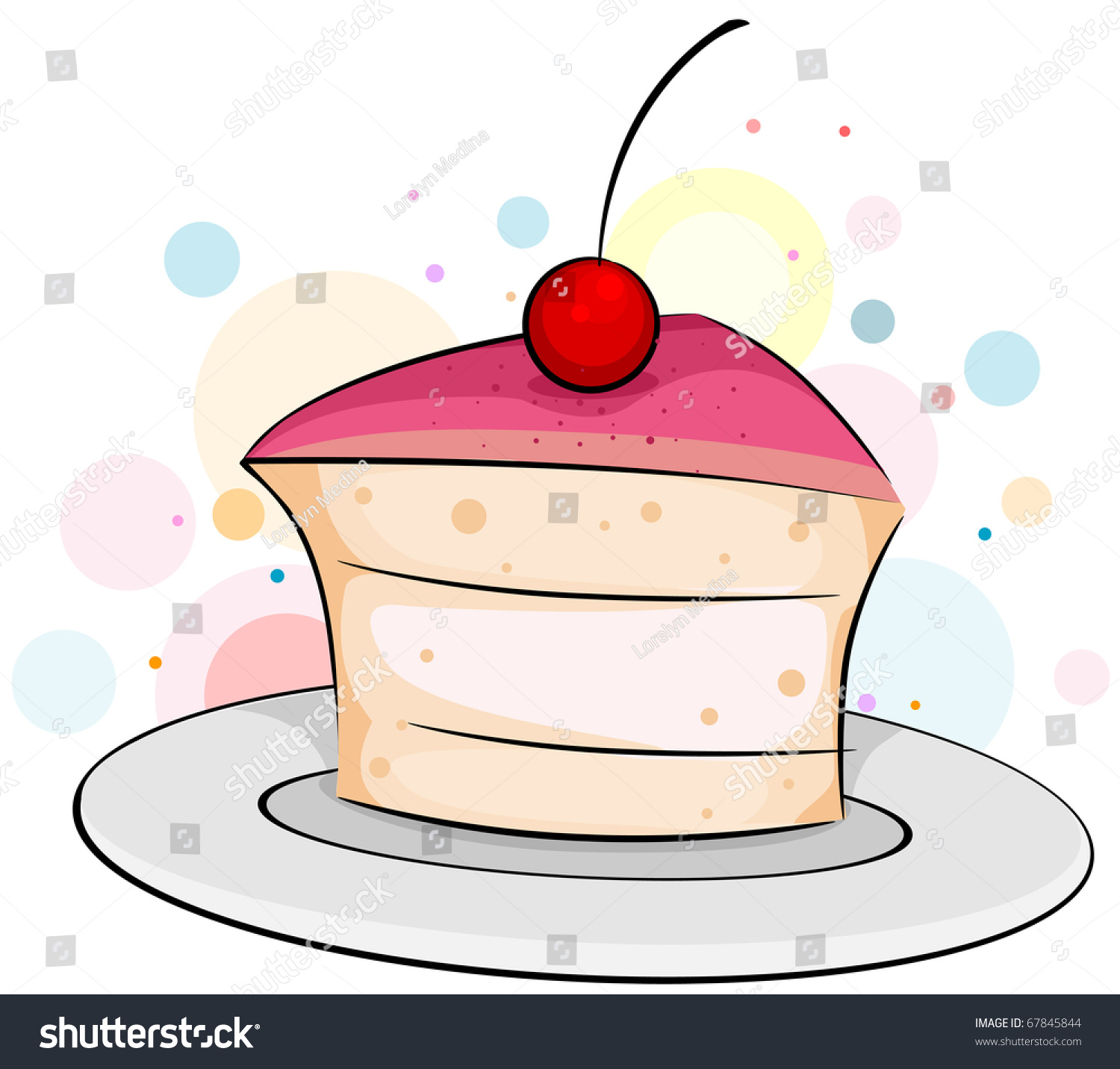 hight resolution of illustration of a slice of cake with a cherry on top