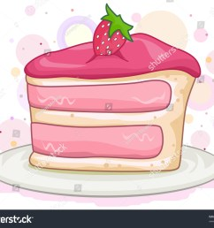 illustration of a slice of cake with a strawberry on top [ 1500 x 1243 Pixel ]