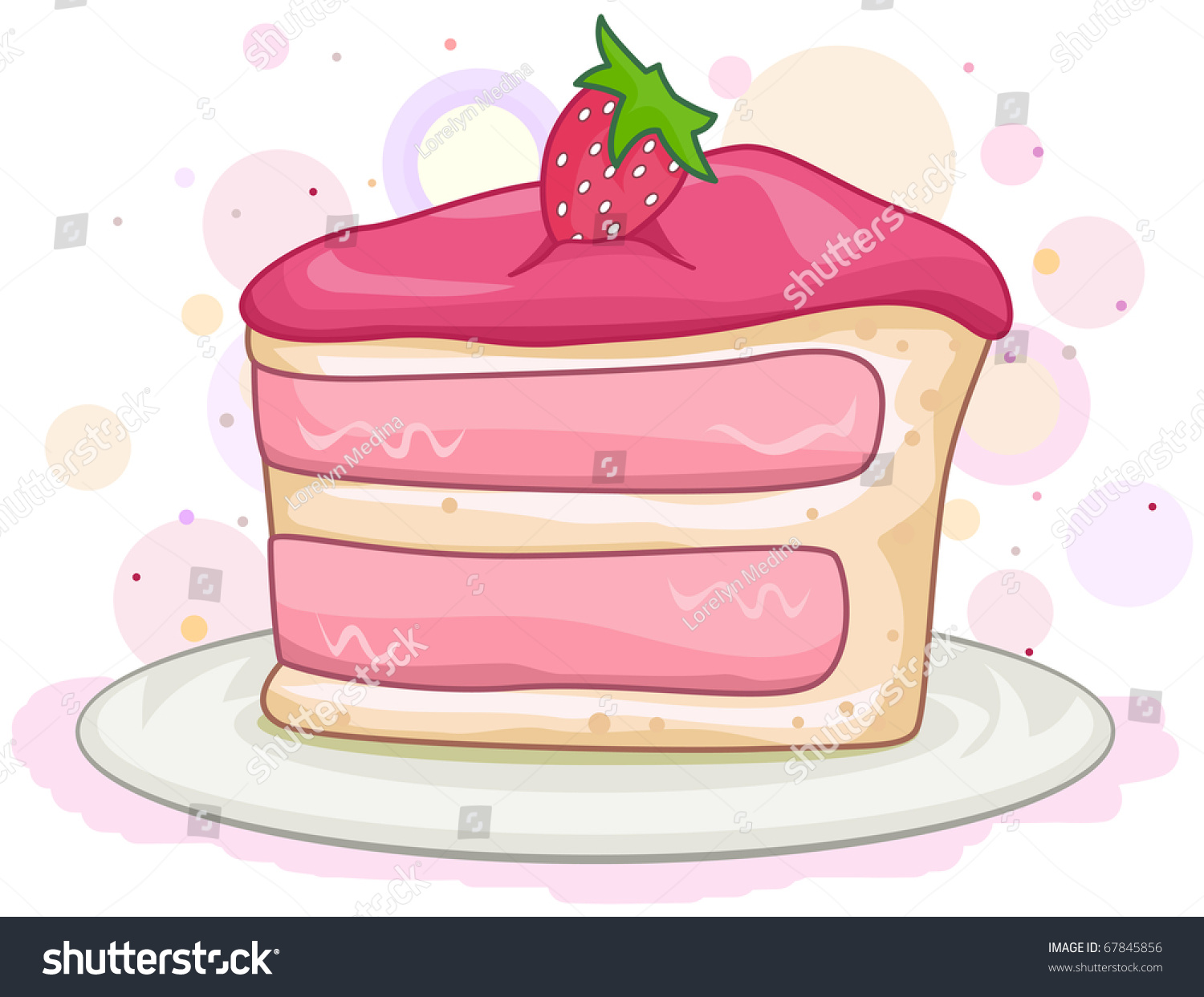 hight resolution of illustration of a slice of cake with a strawberry on top