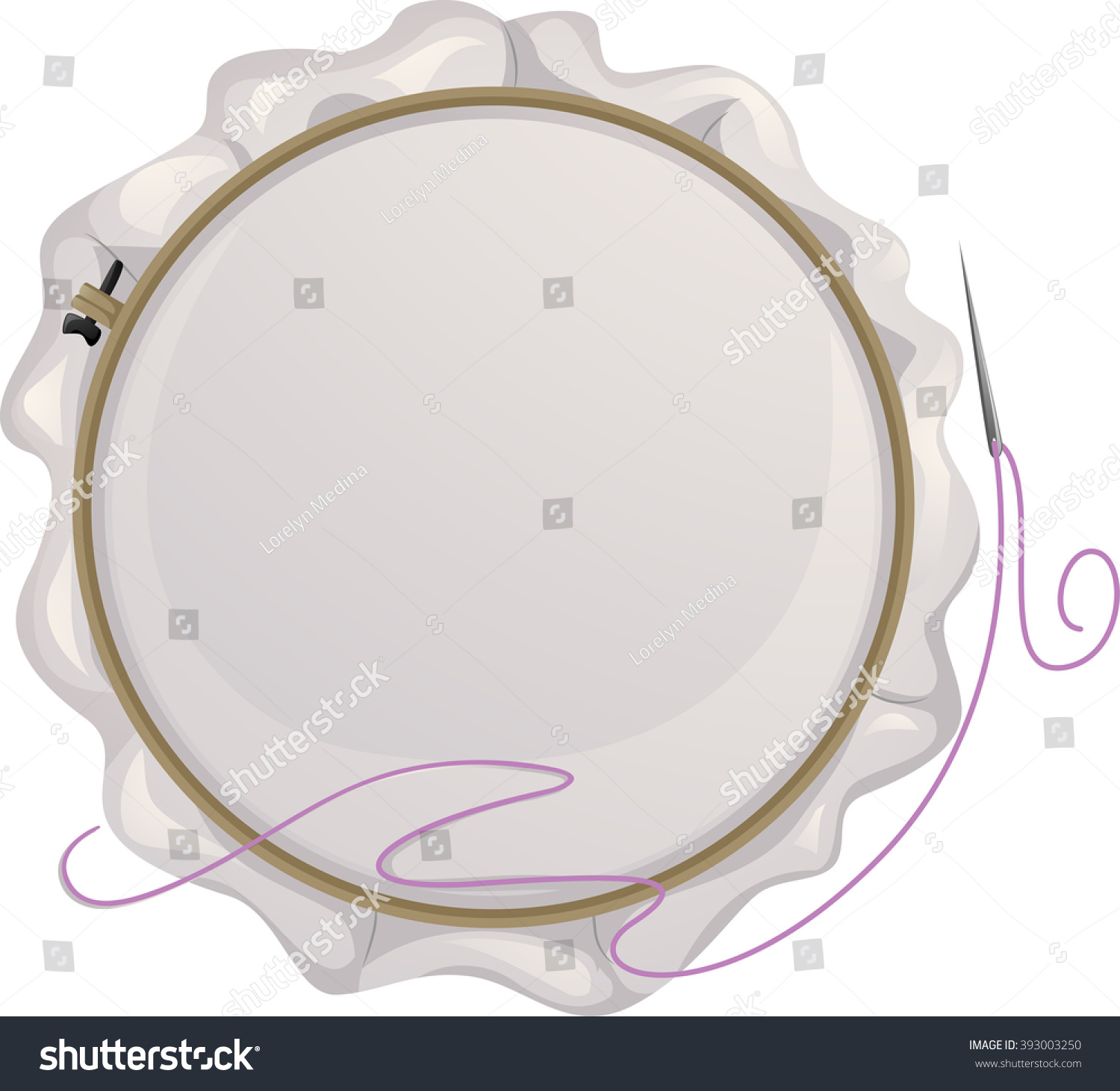 hight resolution of illustration of an embroidery hoop with a needle beside it