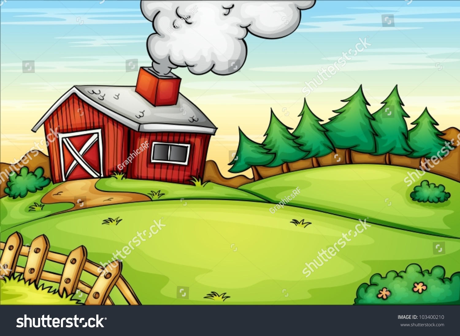 Illustration Of An Empty Farm