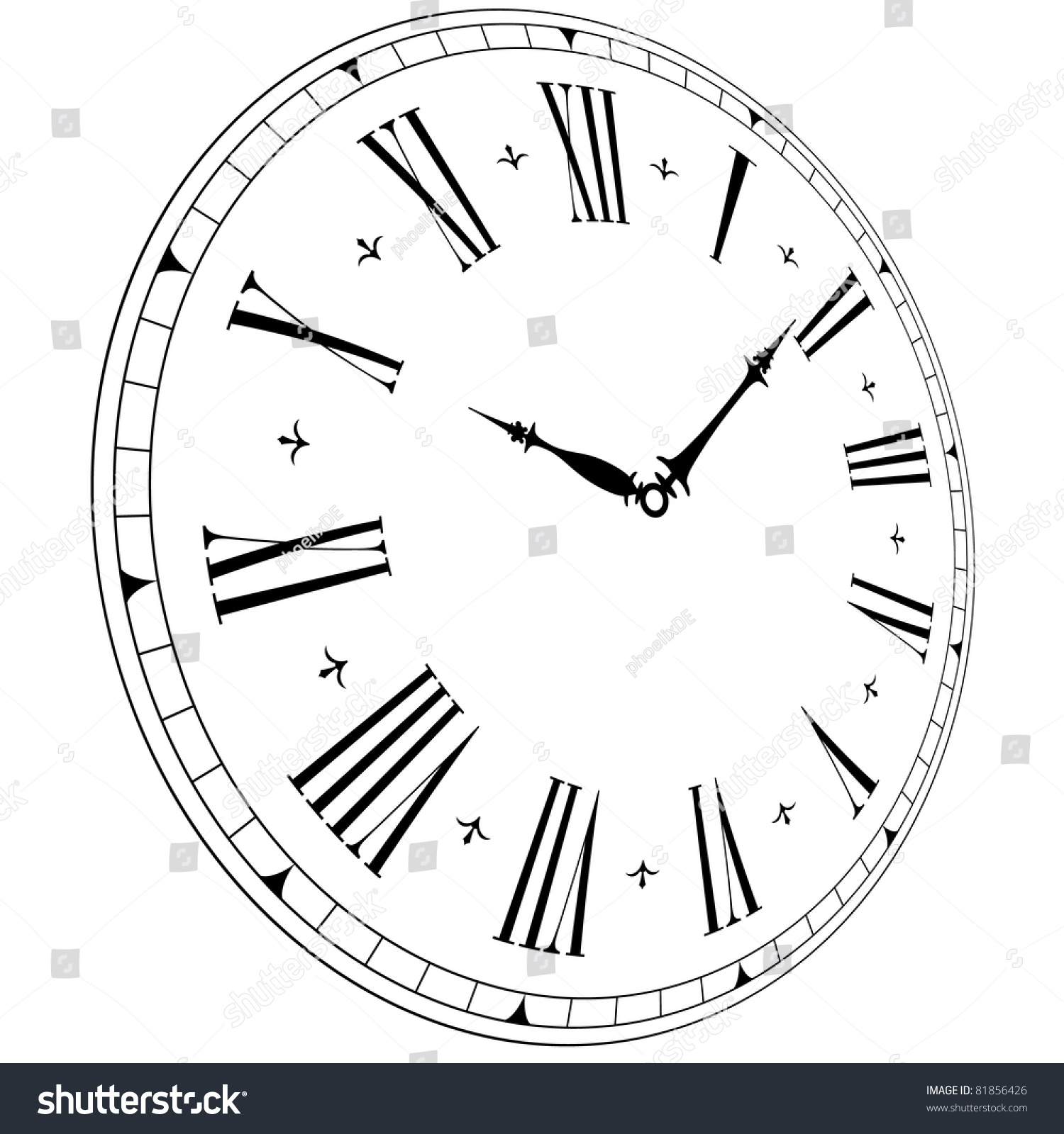 Illustration Of An Old Clock Face With Perspective Angle