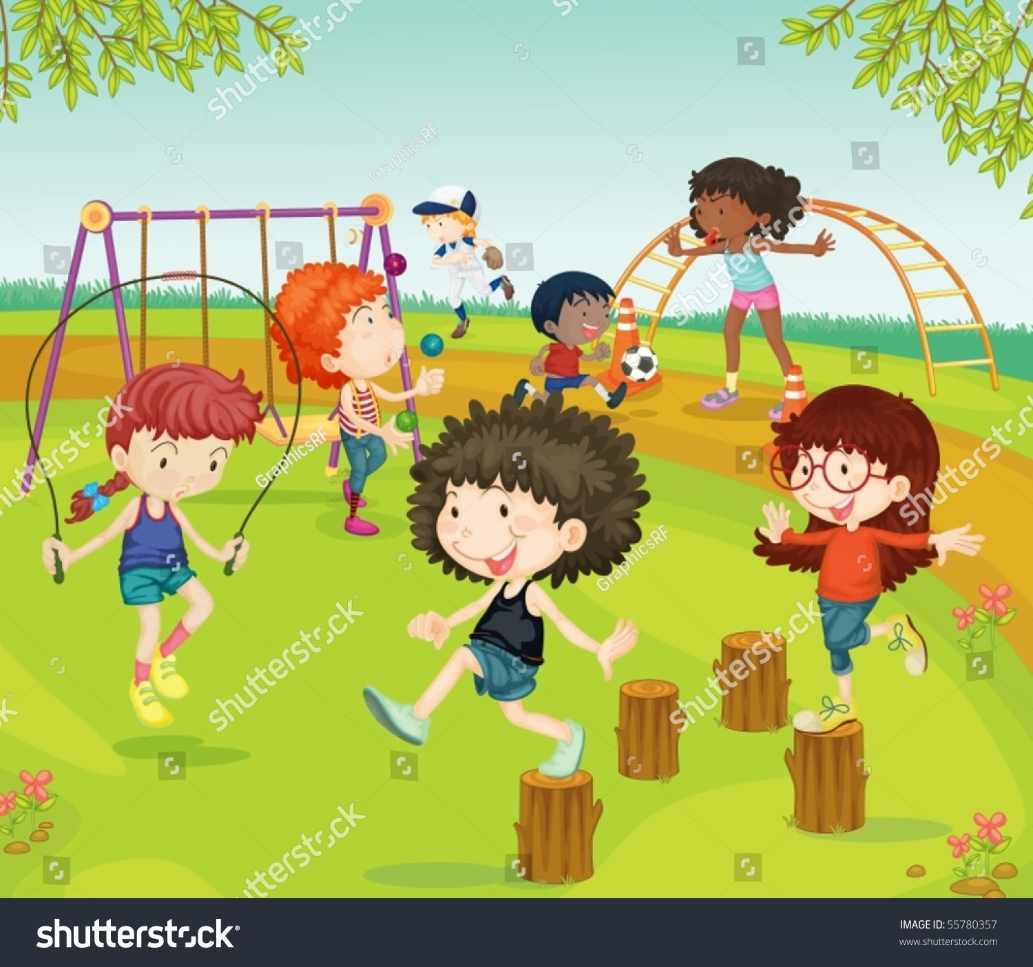 Illustration Of Children Playing In Park On Colorful