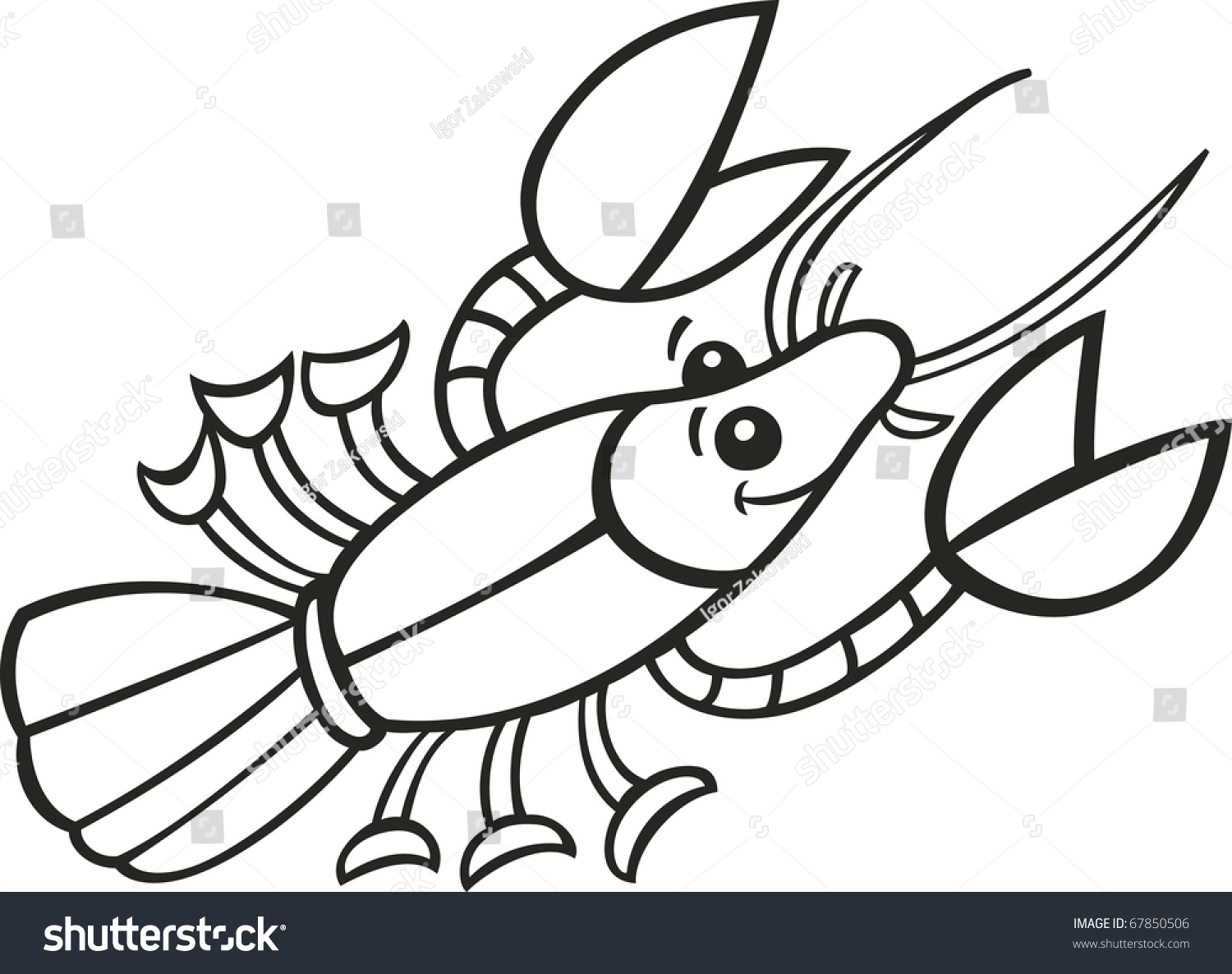 Illustration Crayfish Coloring Book Stock Vector