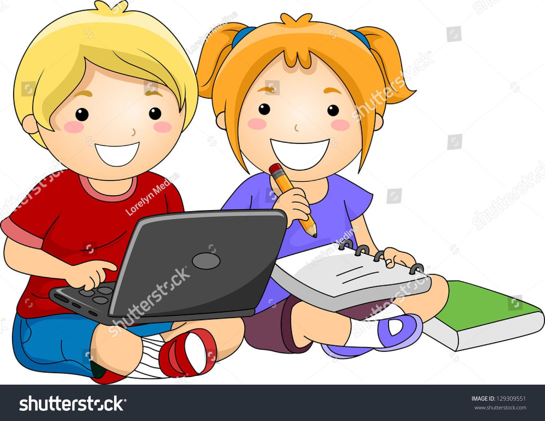 Girl Laptop Cartoon Studying