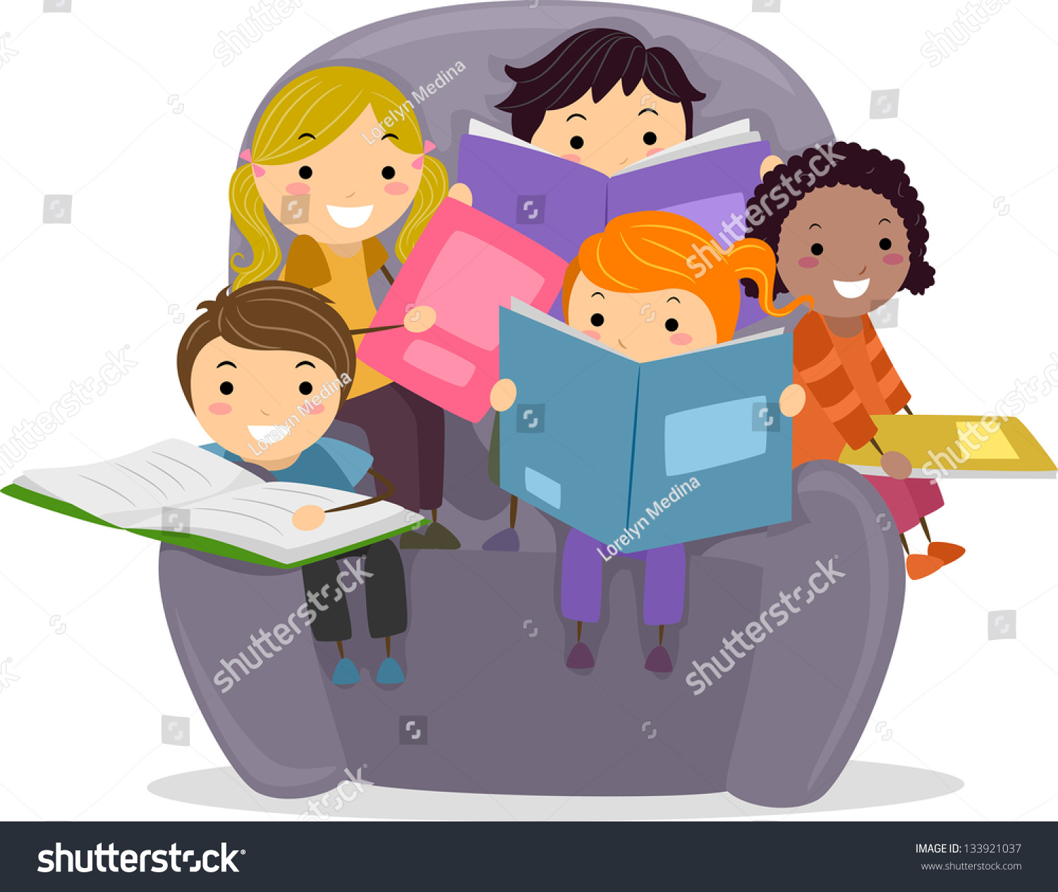 kids reading chair director covers world market illustration little sitting on big stock vector