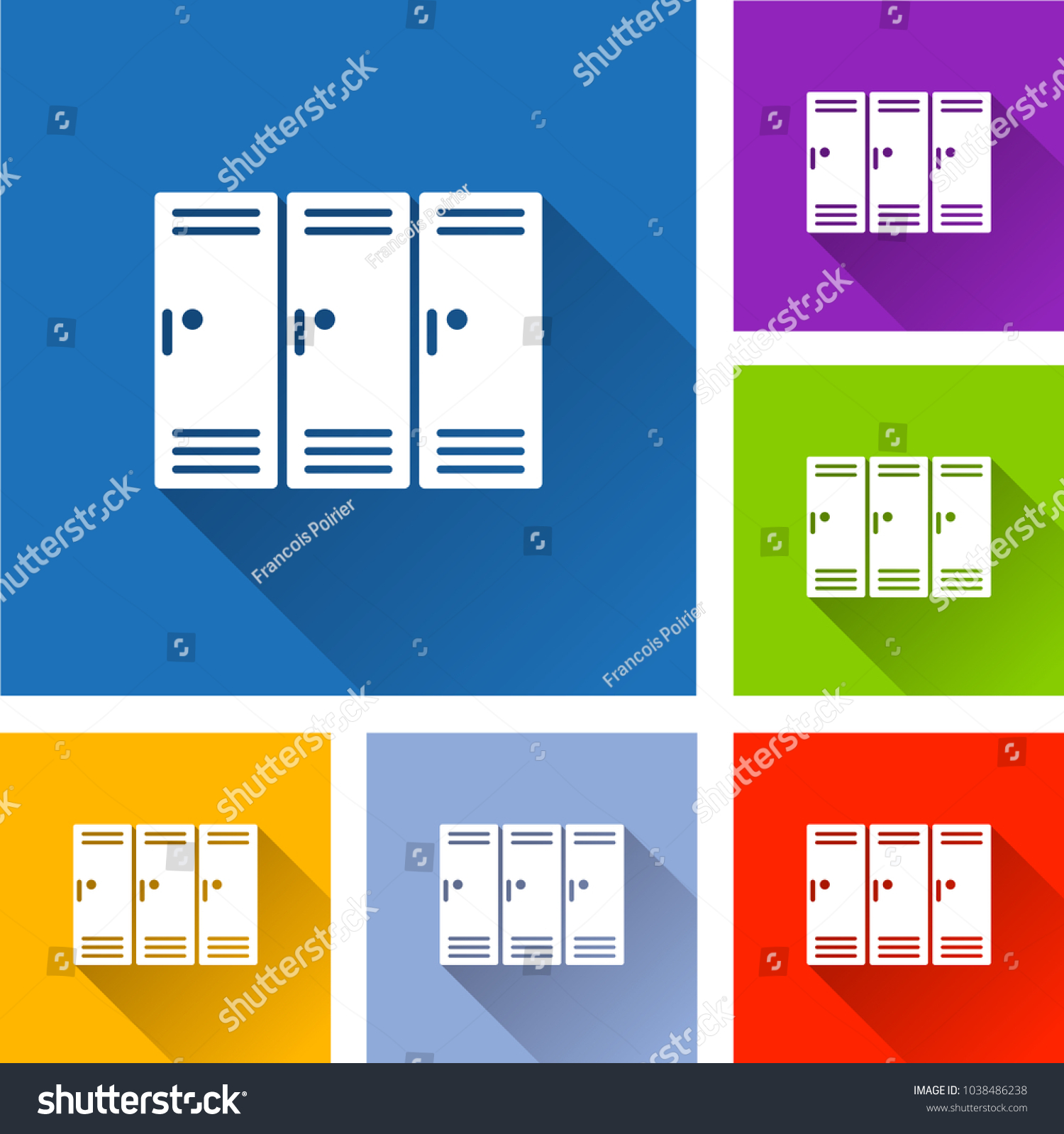 hight resolution of illustration of school locker icons with shadow